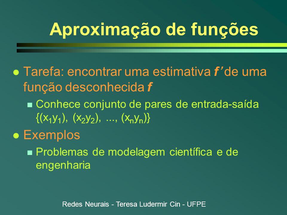 Redes Neurais - Teresa Ludermir Cin - UFPE Aproximação de funções l Tarefa: encontrar uma estimativa f' de uma função desconhecida f n Conhece conjunto de pares de entrada-saída {(x 1 y 1 ), (x 2 y 2 ),..., (x n y n )} l Exemplos n Problemas de modelagem científica e de engenharia