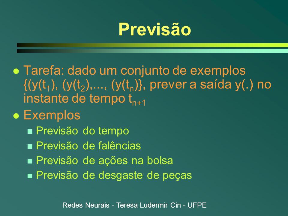 Redes Neurais - Teresa Ludermir Cin - UFPE Previsão l Tarefa: dado um conjunto de exemplos {(y(t 1 ), (y(t 2 ),..., (y(t n )}, prever a saída y(.) no instante de tempo t n+1 l Exemplos n Previsão do tempo n Previsão de falências n Previsão de ações na bolsa n Previsão de desgaste de peças