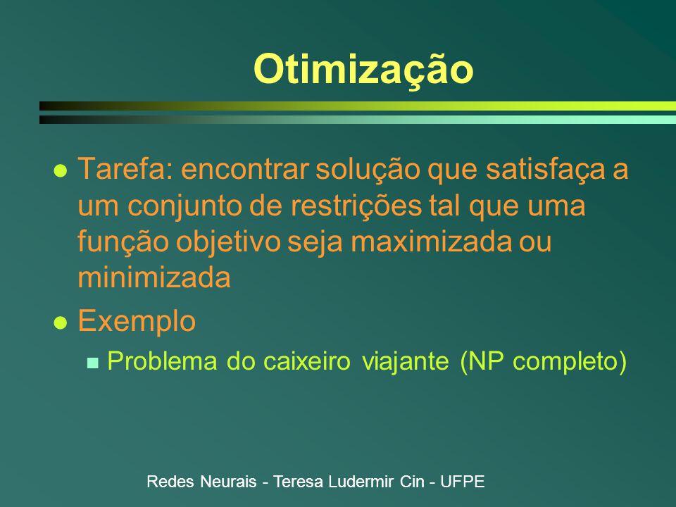 Redes Neurais - Teresa Ludermir Cin - UFPE Otimização l Tarefa: encontrar solução que satisfaça a um conjunto de restrições tal que uma função objetivo seja maximizada ou minimizada l Exemplo n Problema do caixeiro viajante (NP completo)