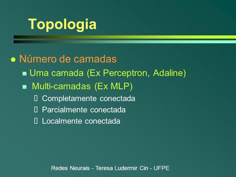 Redes Neurais - Teresa Ludermir Cin - UFPE Topologia l Número de camadas n Uma camada (Ex Perceptron, Adaline) n Multi-camadas (Ex MLP)  Completamente conectada  Parcialmente conectada  Localmente conectada