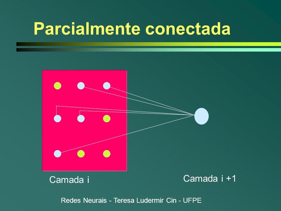 Redes Neurais - Teresa Ludermir Cin - UFPE Parcialmente conectada Camada i Camada i +1