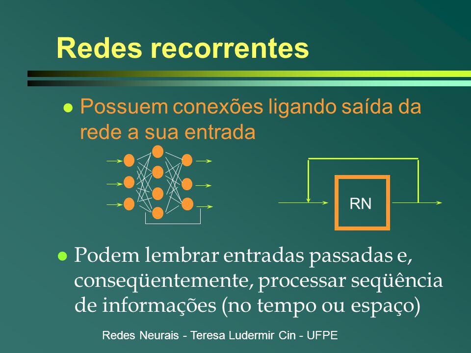 Redes Neurais - Teresa Ludermir Cin - UFPE Redes recorrentes l Possuem conexões ligando saída da rede a sua entrada l Podem lembrar entradas passadas e, conseqüentemente, processar seqüência de informações (no tempo ou espaço) RN