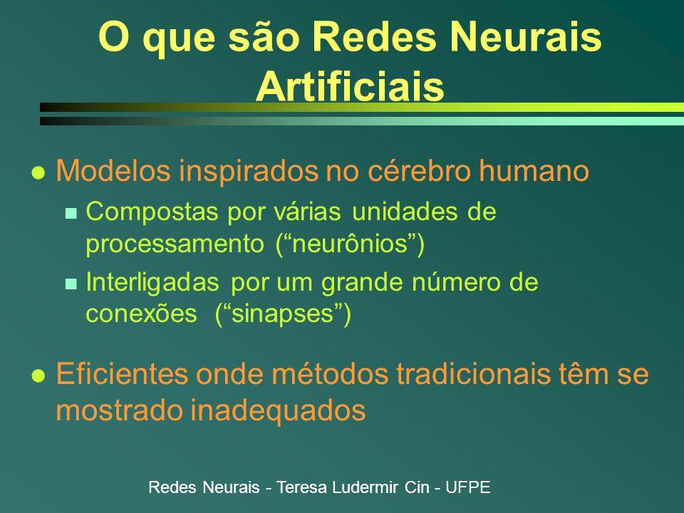 Redes Neurais - Teresa Ludermir Cin - UFPE Funções de ativação l Função de ativação n Atualiza estado de ativação  a(t + 1) = F [a(t), u(t)]  a(t + 1) = F [u(t)] n Atualização  Síncrona (mais comum)  Assíncrona