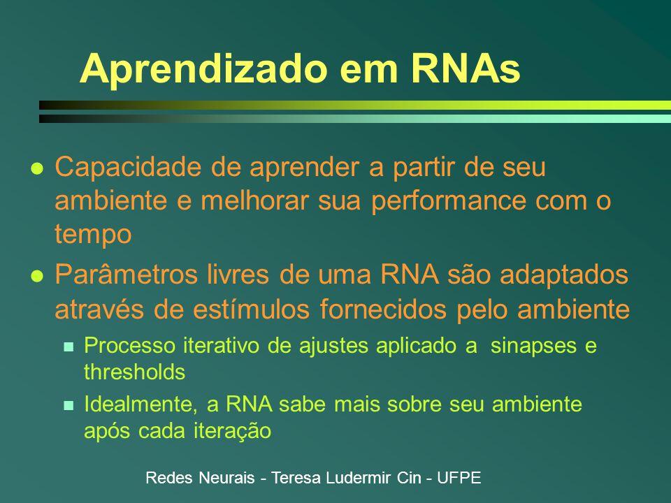 Redes Neurais - Teresa Ludermir Cin - UFPE Aprendizado em RNAs l Capacidade de aprender a partir de seu ambiente e melhorar sua performance com o tempo l Parâmetros livres de uma RNA são adaptados através de estímulos fornecidos pelo ambiente n Processo iterativo de ajustes aplicado a sinapses e thresholds n Idealmente, a RNA sabe mais sobre seu ambiente após cada iteração