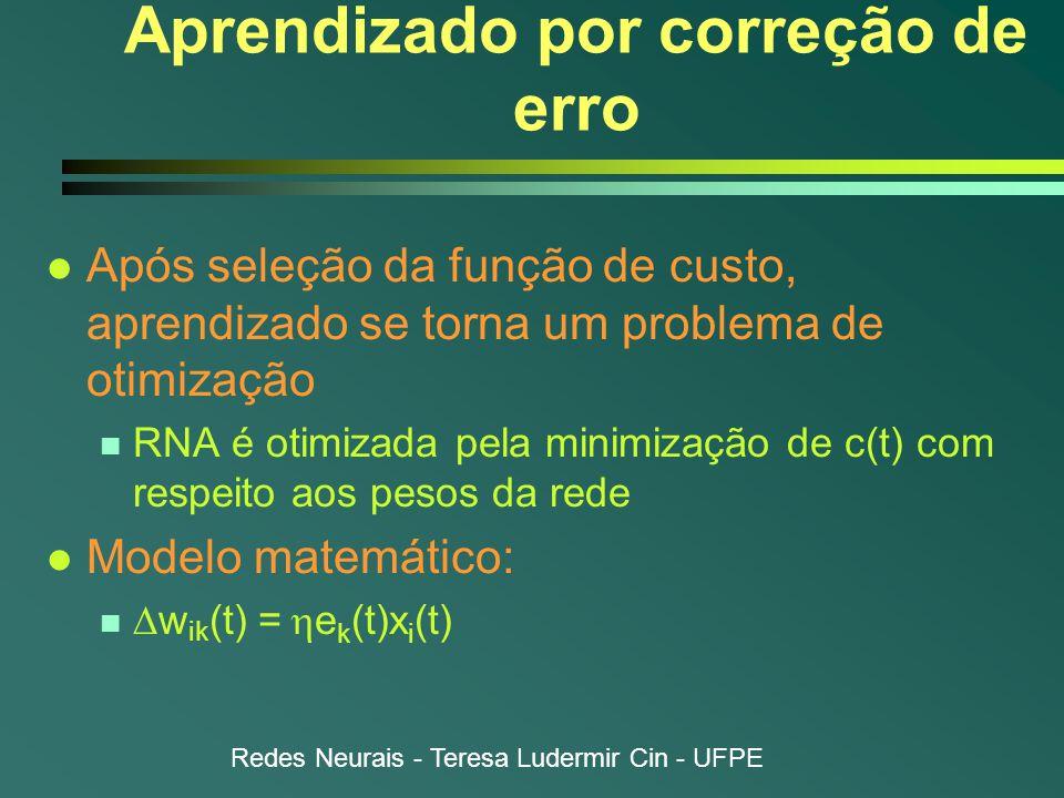Redes Neurais - Teresa Ludermir Cin - UFPE Aprendizado por correção de erro l Após seleção da função de custo, aprendizado se torna um problema de otimização n RNA é otimizada pela minimização de c(t) com respeito aos pesos da rede l Modelo matemático:  w ik (t) =  e k (t)x i (t)