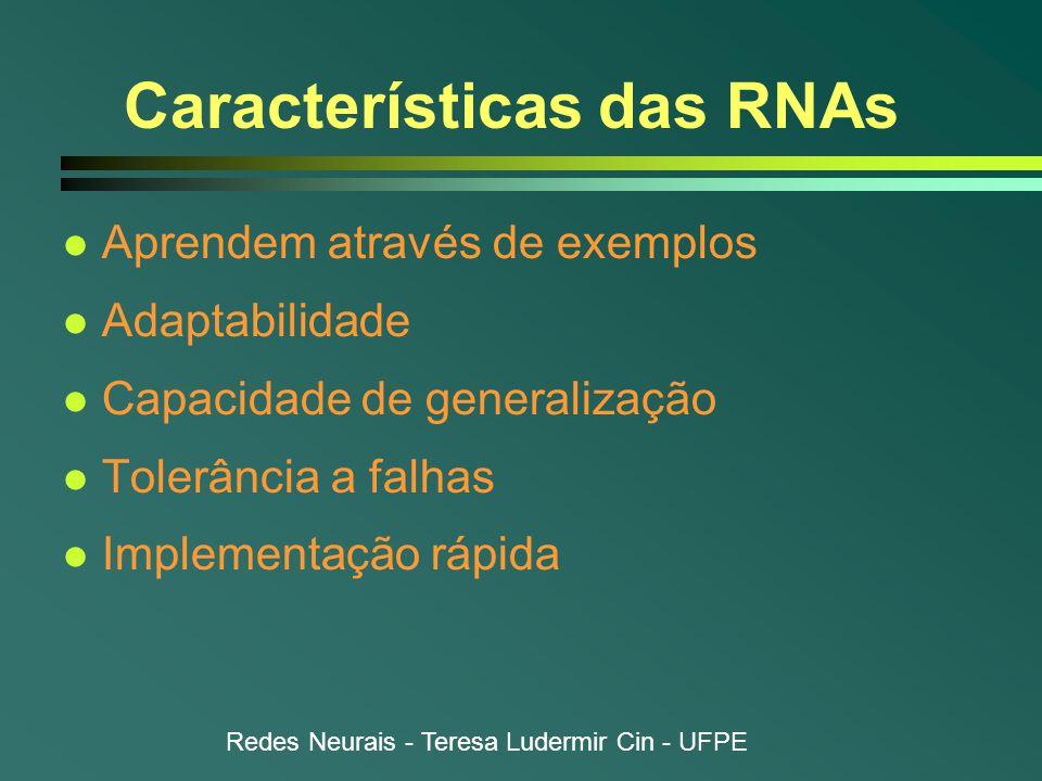 Redes Neurais - Teresa Ludermir Cin - UFPE Aprendizado em RNAs l Algoritmos de aprendizado n Conjunto de regras bem definidas para a solução de um problema de aprendizado n Grande variedade  Cada um com suas vantagens  Diferem na maneira como ajuste  w ik (t) é realizado l Paradigmas de aprendizado n Diferem na maneira como RNA se relaciona com seu ambiente