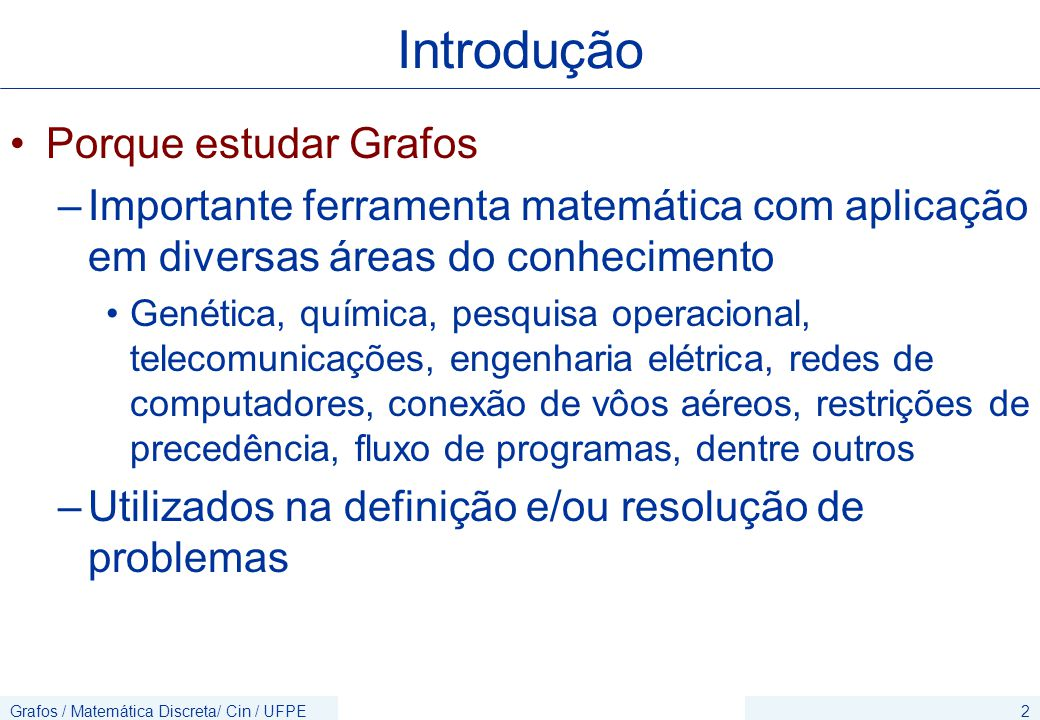 Grafos / Matemática Discreta/ Cin / UFPE23 Exemplo Exercício Desenhe a representação geométrica do seguinte grafo simples: V = {1,2,3,4,5,6}; E ={(1,2),(1,3),(3,2),(3,6),(5,3),(5,1),(5,6),(4,6), (4,5),(6,1),(6,2),(3,4)}