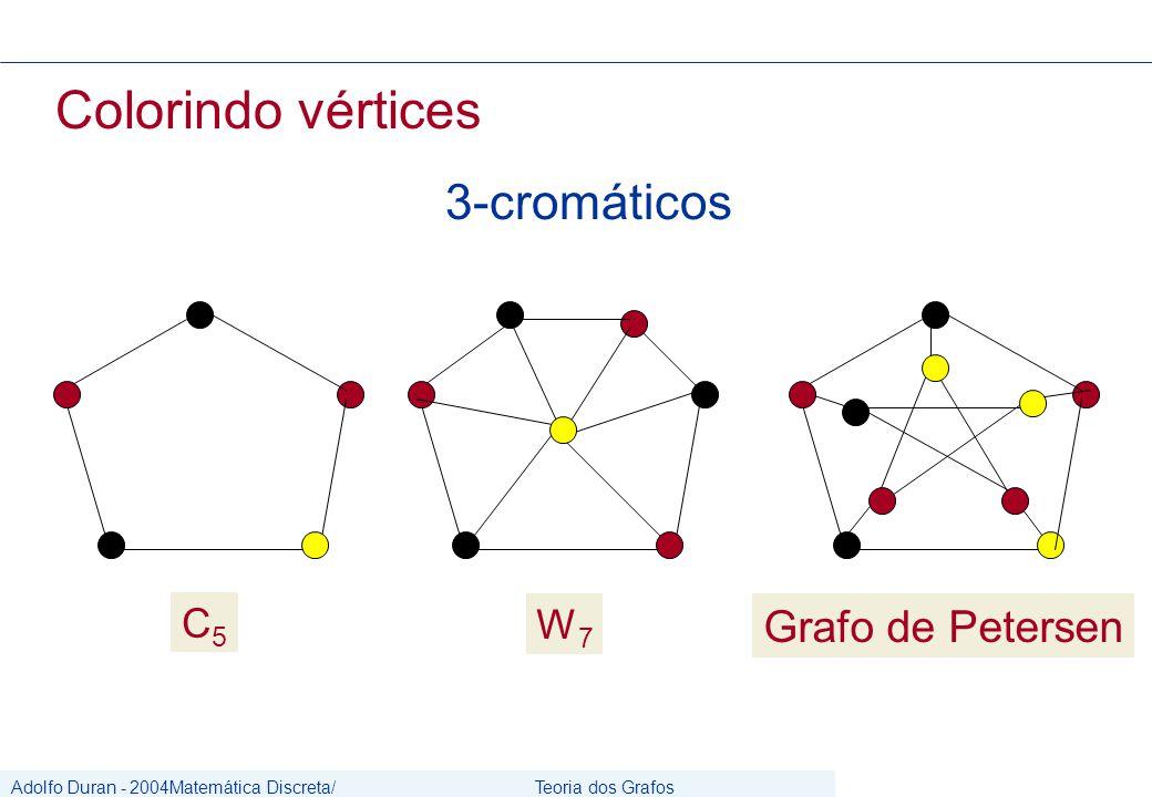 Adolfo Duran - 2004Matemática Discreta/ Grafos Teoria dos Grafos CIn/UFPE Colorindo vértices 3-cromáticos C5C5 Grafo de Petersen W7W7