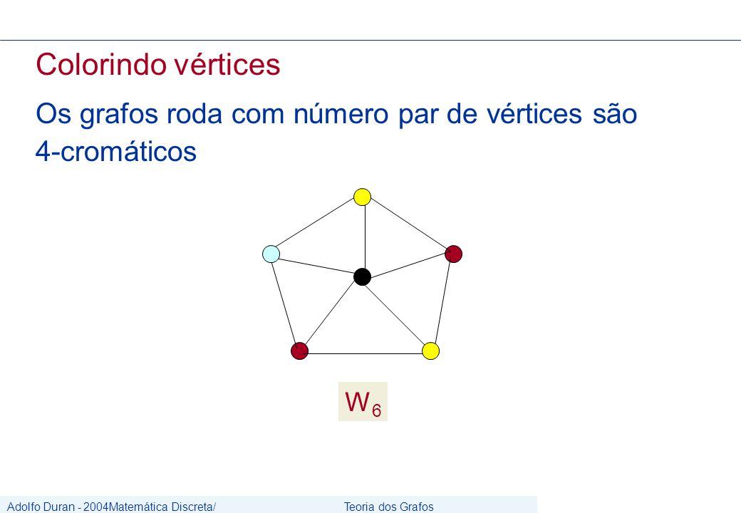 Adolfo Duran - 2004Matemática Discreta/ Grafos Teoria dos Grafos CIn/UFPE Colorindo vértices Os grafos roda com número par de vértices são 4-cromáticos W6W6