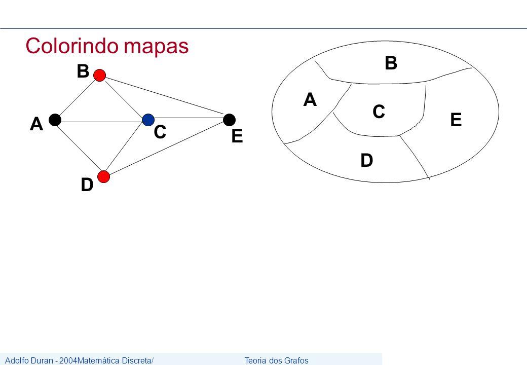Adolfo Duran - 2004Matemática Discreta/ Grafos Teoria dos Grafos CIn/UFPE Colorindo mapas C A B E D C A B D E