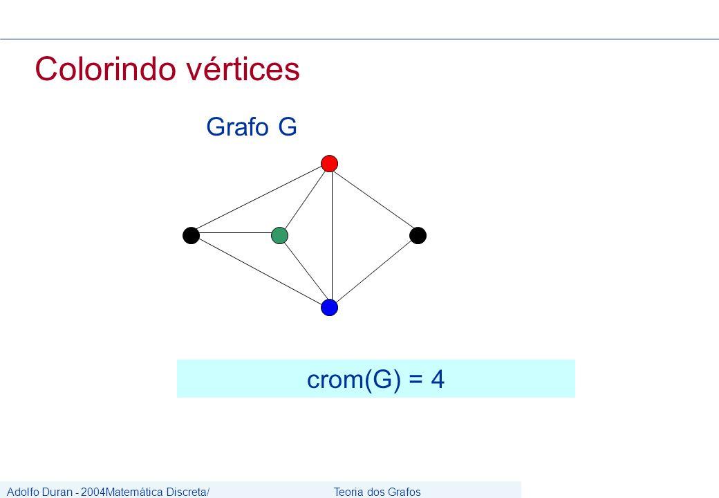 Adolfo Duran - 2004Matemática Discreta/ Grafos Teoria dos Grafos CIn/UFPE Colorindo vértices Grafo G crom(G) = 4