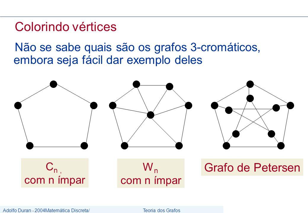 Adolfo Duran - 2004Matemática Discreta/ Grafos Teoria dos Grafos CIn/UFPE Colorindo vértices Não se sabe quais são os grafos 3-cromáticos, embora seja fácil dar exemplo deles C n, com n ímpar Grafo de Petersen W n com n ímpar