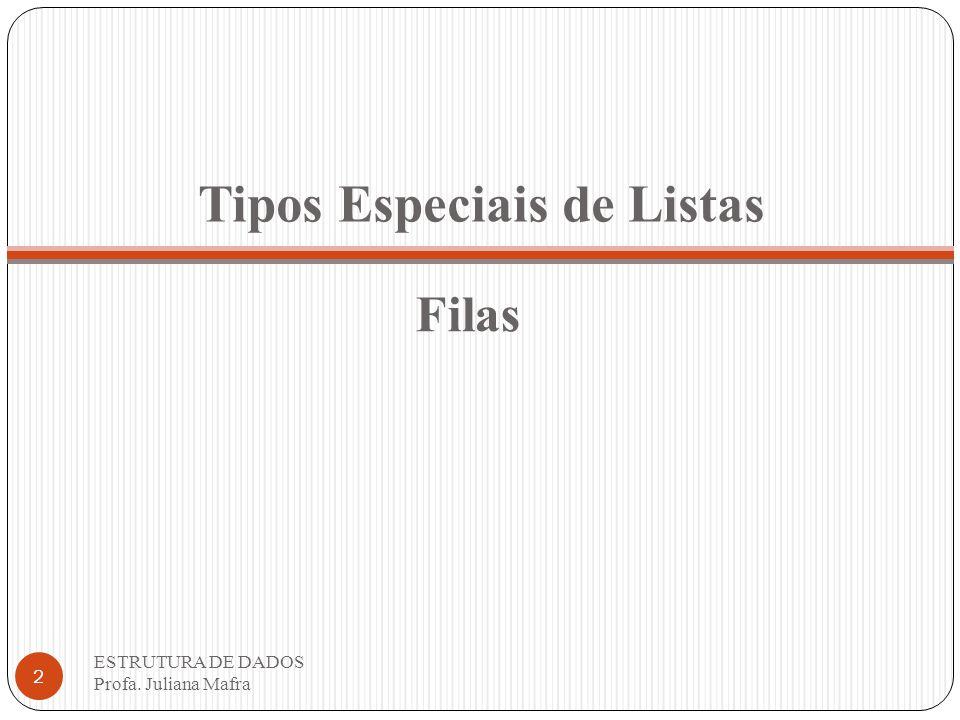 Tipos Especiais de Listas ESTRUTURA DE DADOS Profa. Juliana Mafra 2 Filas