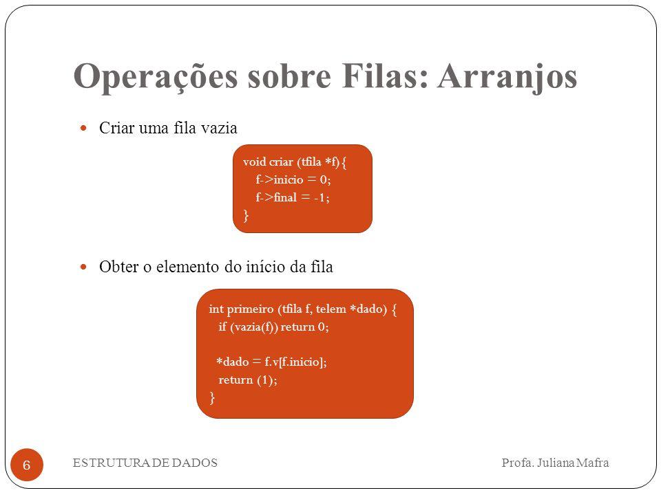 Operações sobre Filas: Arranjos 6 Criar uma fila vazia Obter o elemento do início da fila ESTRUTURA DE DADOS Profa.