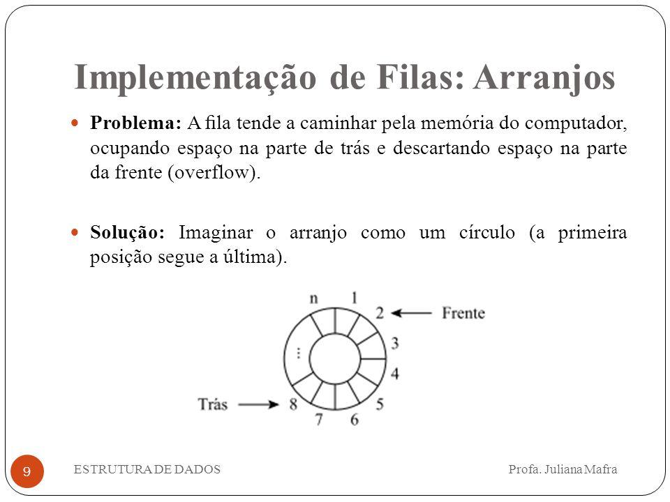 Implementação de Filas: Arranjos 9 Problema: A fila tende a caminhar pela memória do computador, ocupando espaço na parte de trás e descartando espaço na parte da frente (overflow).