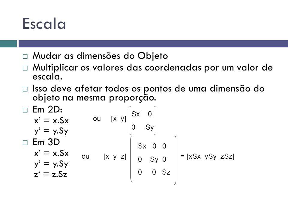 Escala  Mudar as dimensões do Objeto  Multiplicar os valores das coordenadas por um valor de escala.  Isso deve afetar todos os pontos de uma dimen