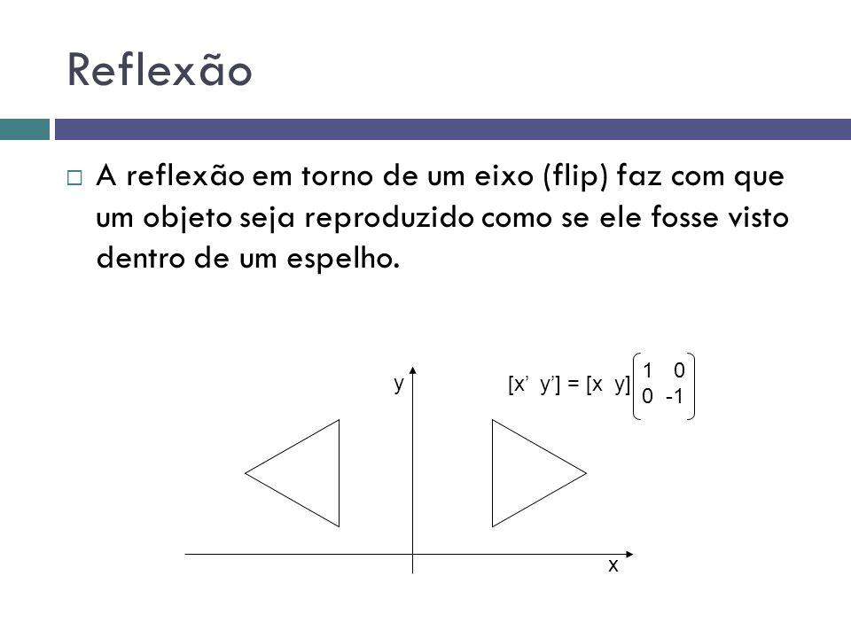 Reflexão  A reflexão em torno de um eixo (flip) faz com que um objeto seja reproduzido como se ele fosse visto dentro de um espelho. y x 10 0 -1 [x'