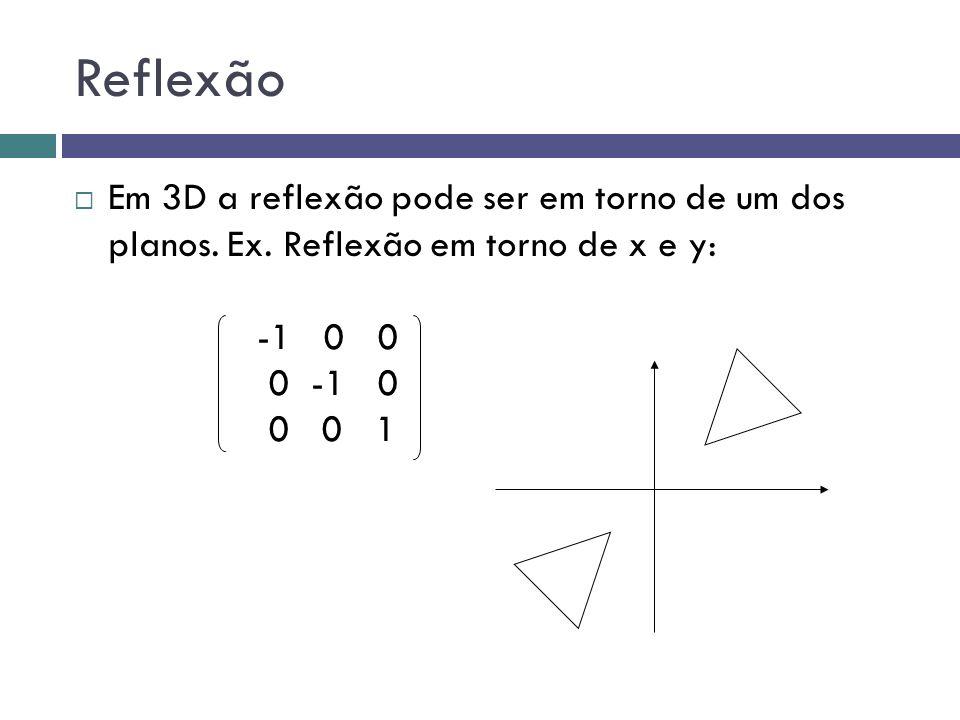 Reflexão  Em 3D a reflexão pode ser em torno de um dos planos. Ex. Reflexão em torno de x e y: -1 0 0 0 -1 0 0 0 1