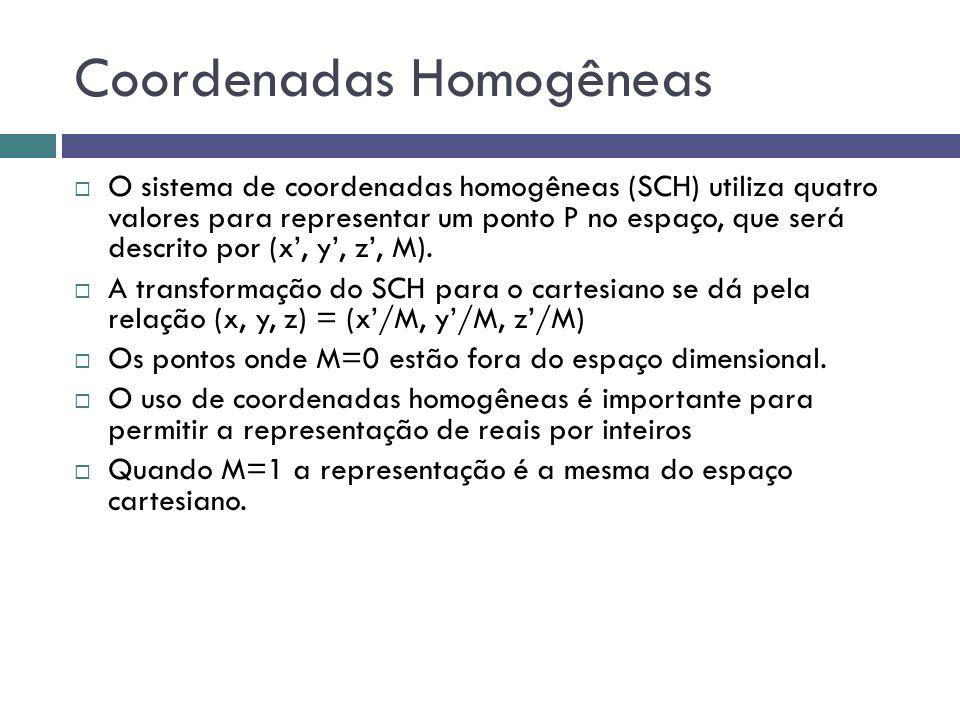 Coordenadas Homogêneas  O sistema de coordenadas homogêneas (SCH) utiliza quatro valores para representar um ponto P no espaço, que será descrito por