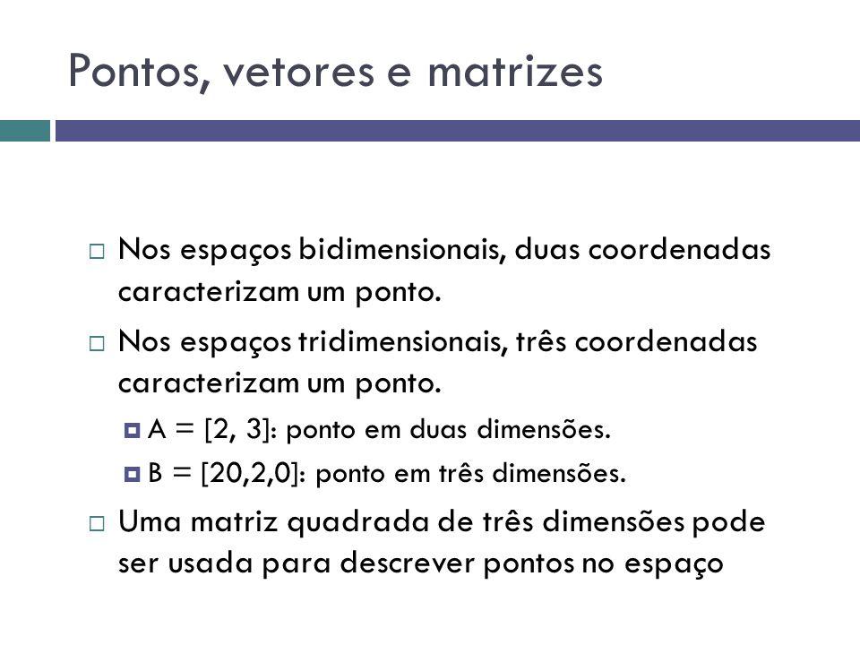 Pontos, vetores e matrizes  Nos espaços bidimensionais, duas coordenadas caracterizam um ponto.  Nos espaços tridimensionais, três coordenadas carac