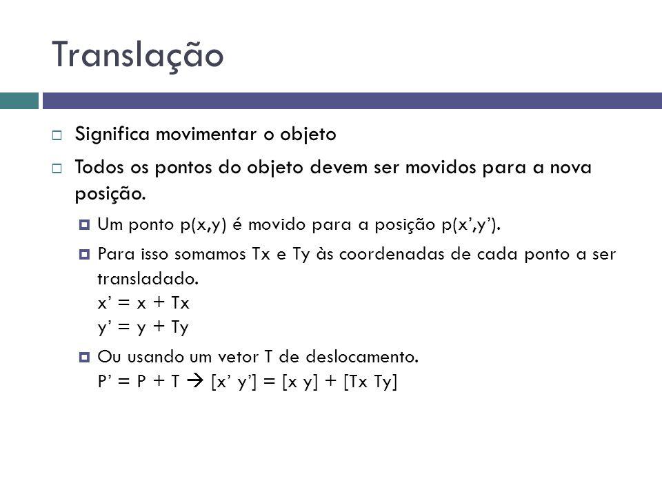 Translação  Significa movimentar o objeto  Todos os pontos do objeto devem ser movidos para a nova posição.  Um ponto p(x,y) é movido para a posiçã