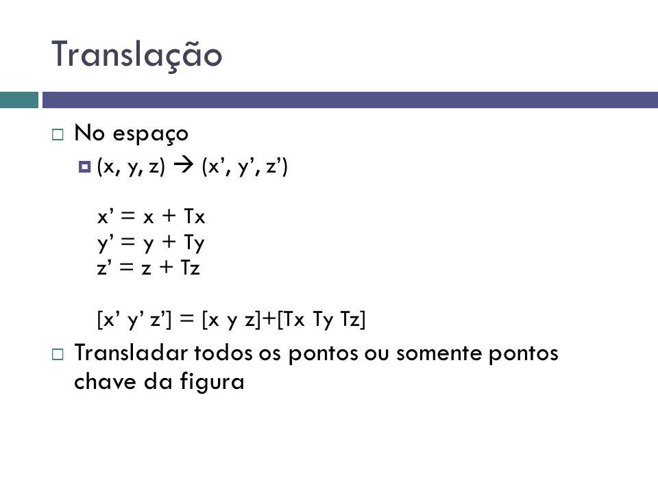 Translação  No espaço  (x, y, z)  (x', y', z') x' = x + Tx y' = y + Ty z' = z + Tz [x' y' z'] = [x y z]+[Tx Ty Tz]  Transladar todos os pontos ou somente pontos chave da figura