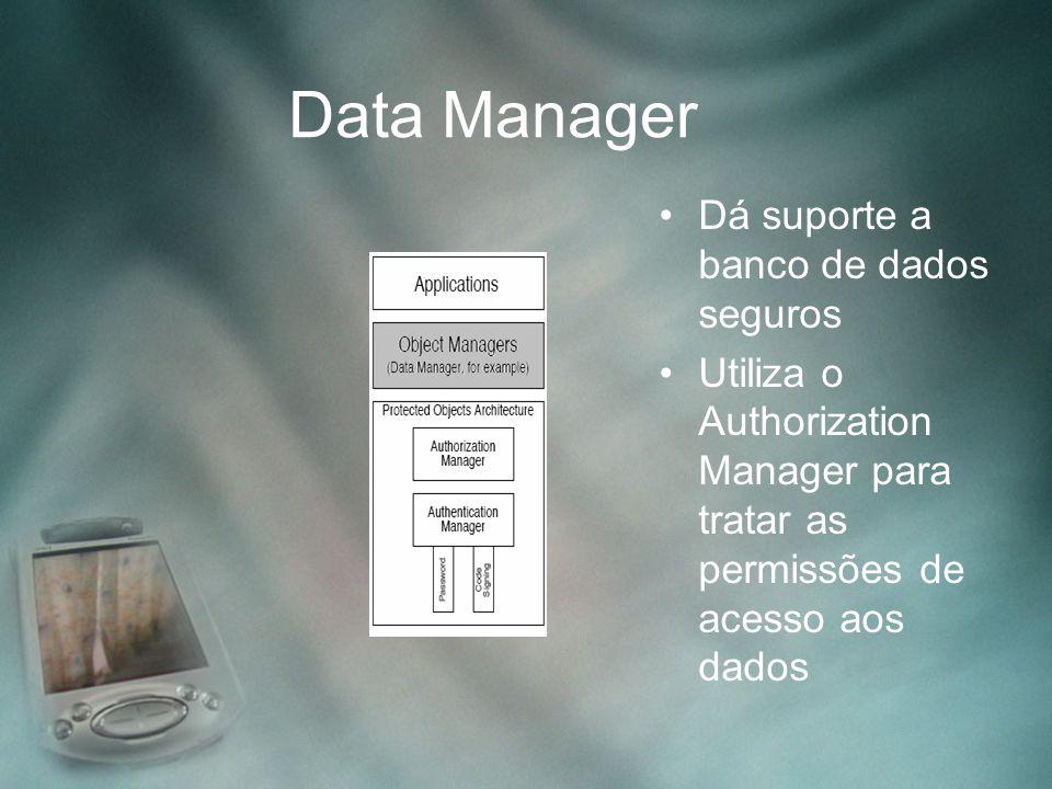 Data Manager Dá suporte a banco de dados seguros Utiliza o Authorization Manager para tratar as permissões de acesso aos dados
