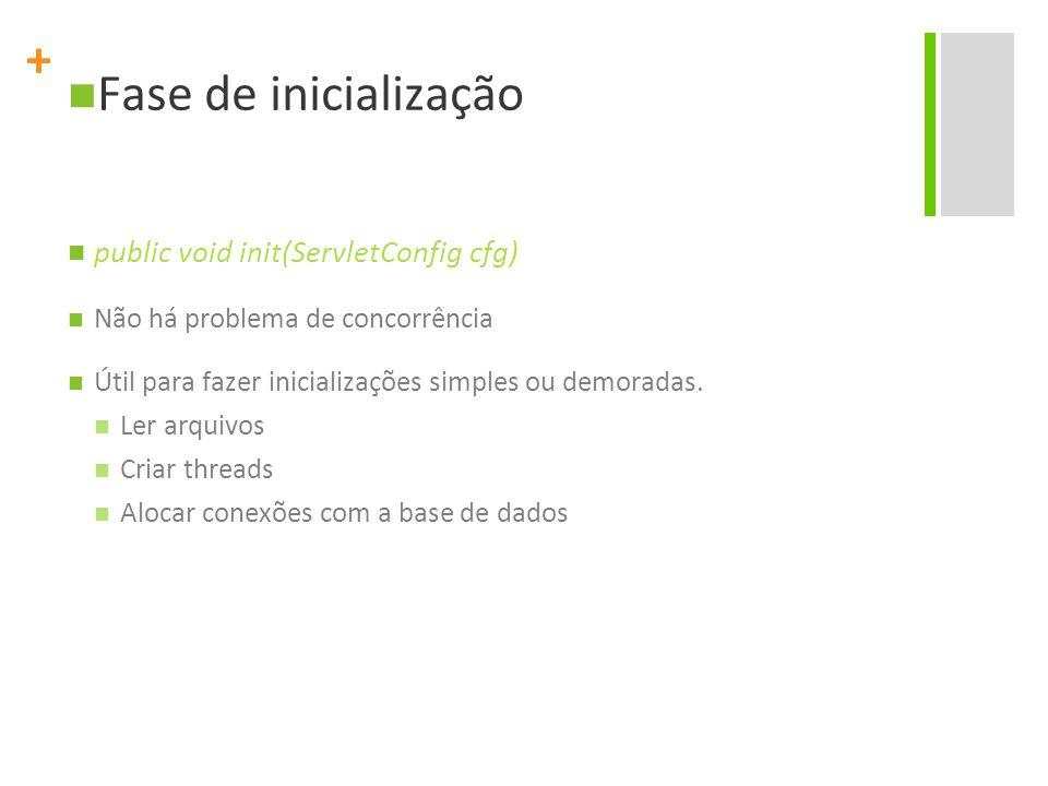 + Fase de inicialização public void init(ServletConfig cfg) Não há problema de concorrência Útil para fazer inicializações simples ou demoradas. Ler a
