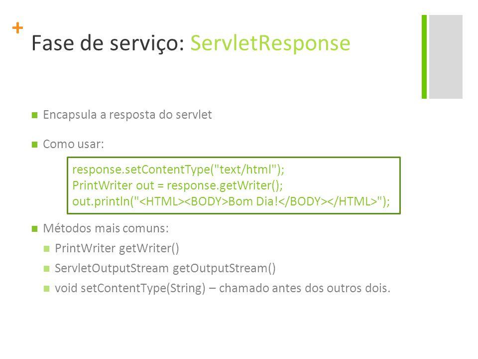 + Fase de serviço: ServletResponse Encapsula a resposta do servlet Como usar: Métodos mais comuns: PrintWriter getWriter() ServletOutputStream getOutp