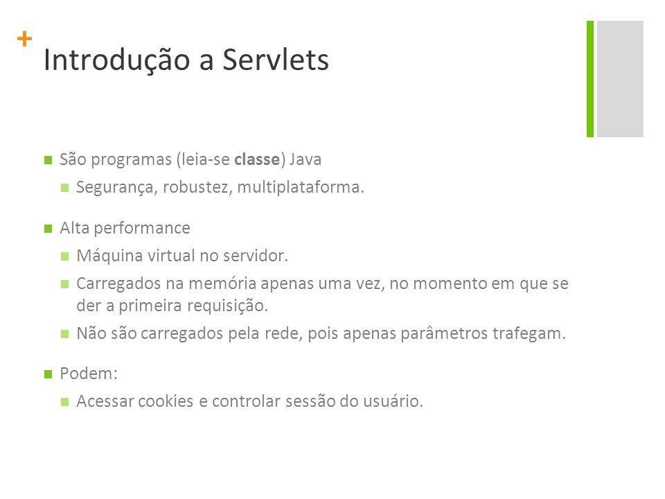 + Introdução a Servlets São programas (leia-se classe) Java Segurança, robustez, multiplataforma. Alta performance Máquina virtual no servidor. Carreg