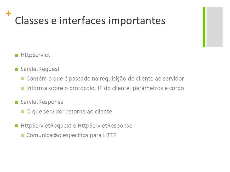 + Classes e interfaces importantes HttpServlet ServletRequest Contém o que é passado na requisição do cliente ao servidor Informa sobre o protocolo, I