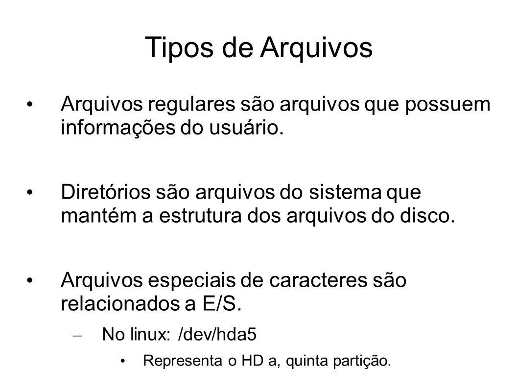 Tipos de Arquivos Arquivos regulares são arquivos que possuem informações do usuário. Diretórios são arquivos do sistema que mantém a estrutura dos ar
