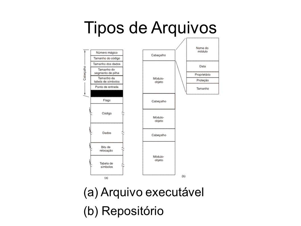 Tipos de Arquivos (a) Arquivo executável (b) Repositório