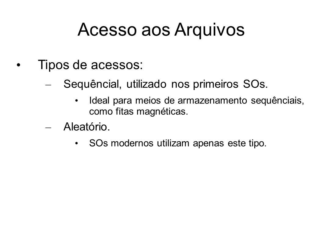 Acesso aos Arquivos Tipos de acessos: – Sequêncial, utilizado nos primeiros SOs. Ideal para meios de armazenamento sequênciais, como fitas magnéticas.