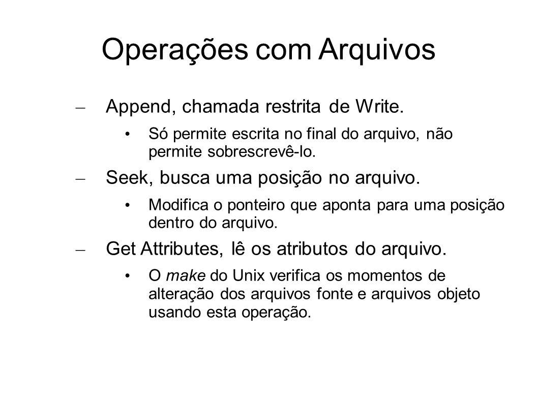 Operações com Arquivos – Append, chamada restrita de Write. Só permite escrita no final do arquivo, não permite sobrescrevê-lo. – Seek, busca uma posi