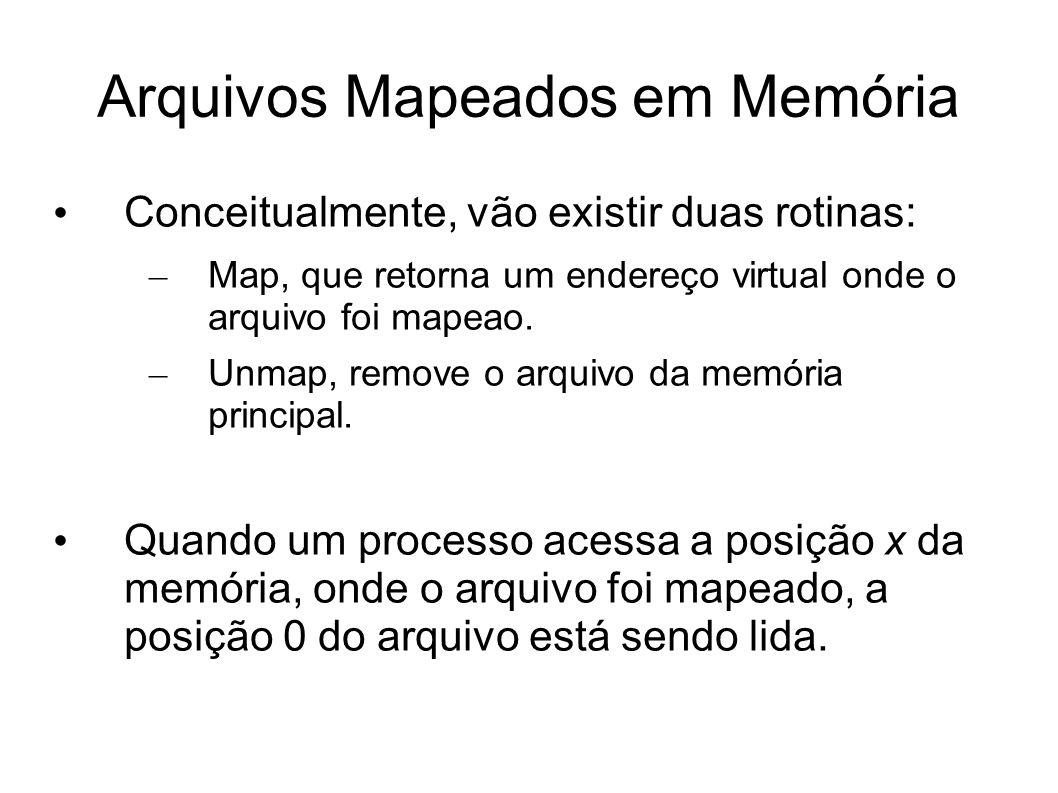 Arquivos Mapeados em Memória Conceitualmente, vão existir duas rotinas: – Map, que retorna um endereço virtual onde o arquivo foi mapeao. – Unmap, rem