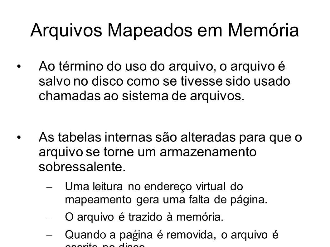 Arquivos Mapeados em Memória Ao término do uso do arquivo, o arquivo é salvo no disco como se tivesse sido usado chamadas ao sistema de arquivos.