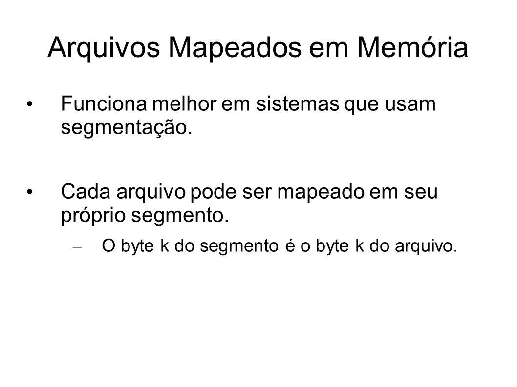 Arquivos Mapeados em Memória Funciona melhor em sistemas que usam segmentação. Cada arquivo pode ser mapeado em seu próprio segmento. – O byte k do se