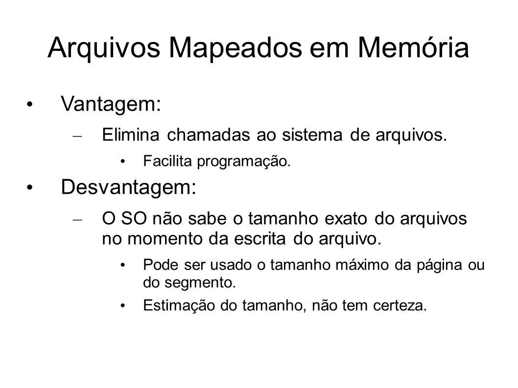 Arquivos Mapeados em Memória Vantagem: – Elimina chamadas ao sistema de arquivos. Facilita programação. Desvantagem: – O SO não sabe o tamanho exato d