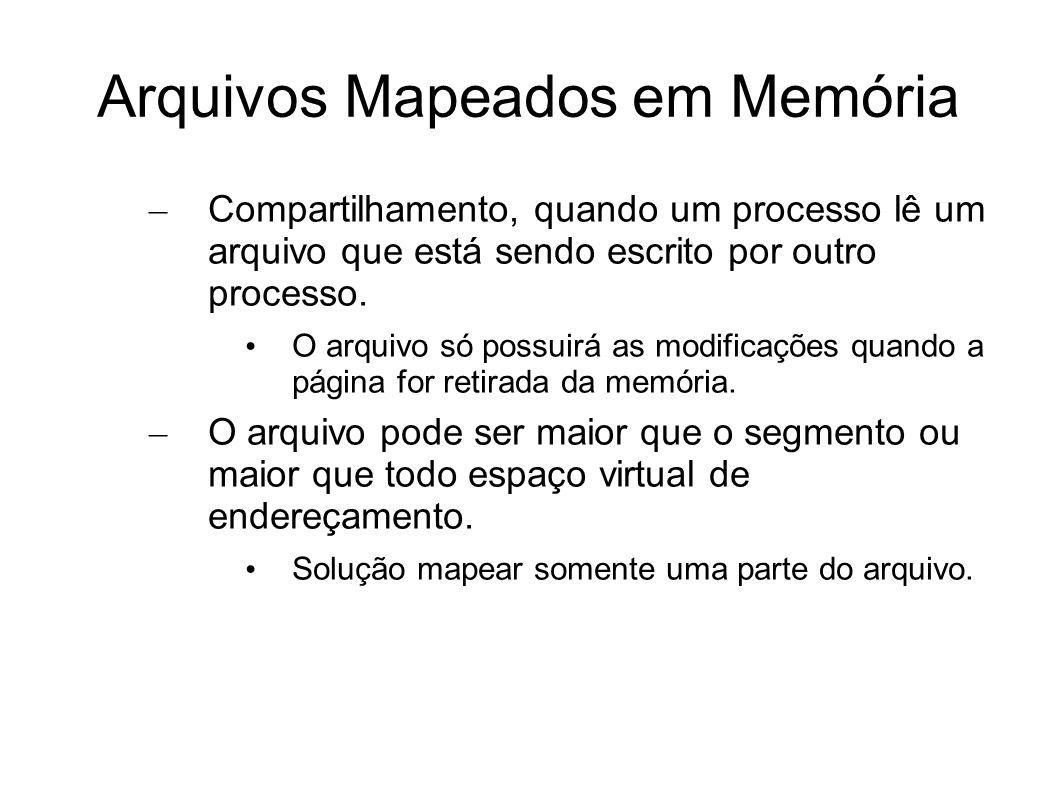 Arquivos Mapeados em Memória – Compartilhamento, quando um processo lê um arquivo que está sendo escrito por outro processo. O arquivo só possuirá as