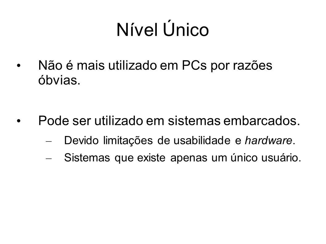 Nível Único Não é mais utilizado em PCs por razões óbvias. Pode ser utilizado em sistemas embarcados. – Devido limitações de usabilidade e hardware. –