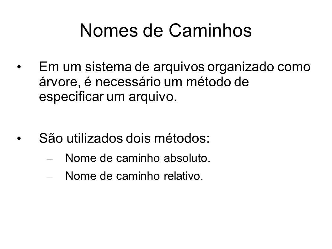 Nomes de Caminhos Em um sistema de arquivos organizado como árvore, é necessário um método de especificar um arquivo. São utilizados dois métodos: – N