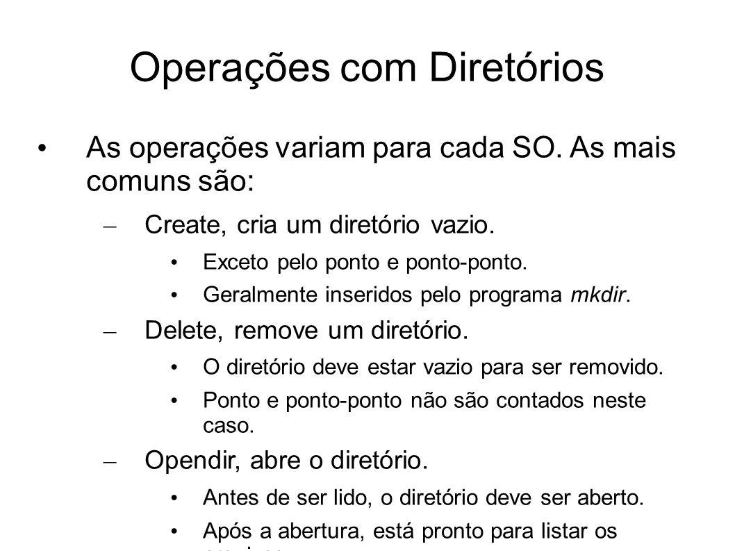 Operações com Diretórios As operações variam para cada SO. As mais comuns são: – Create, cria um diretório vazio. Exceto pelo ponto e ponto-ponto. Ger