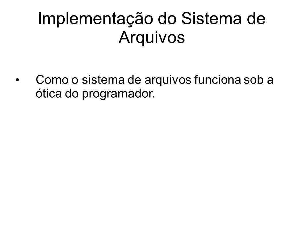 Implementação do Sistema de Arquivos Como o sistema de arquivos funciona sob a ótica do programador.
