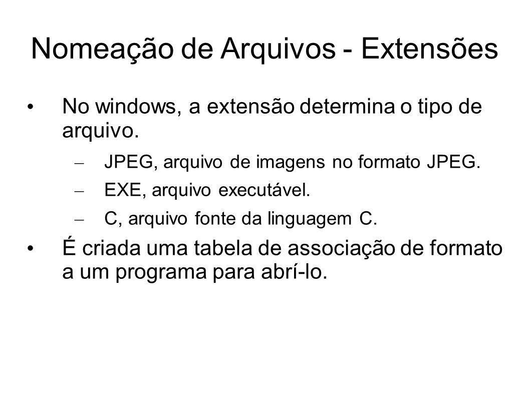 Nomeação de Arquivos - Extensões No windows, a extensão determina o tipo de arquivo. – JPEG, arquivo de imagens no formato JPEG. – EXE, arquivo execut