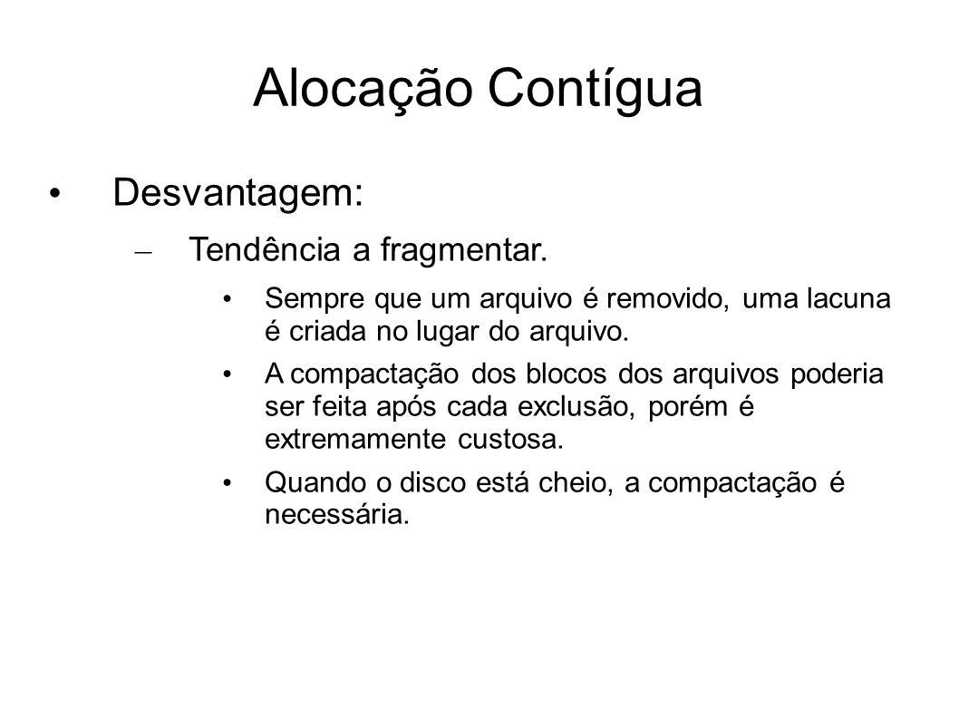 Alocação Contígua Desvantagem: – Tendência a fragmentar.