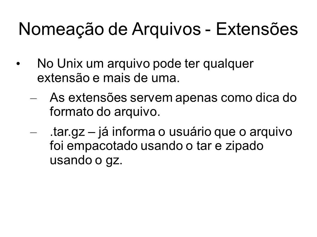 Nomeação de Arquivos - Extensões No Unix um arquivo pode ter qualquer extensão e mais de uma. – As extensões servem apenas como dica do formato do arq