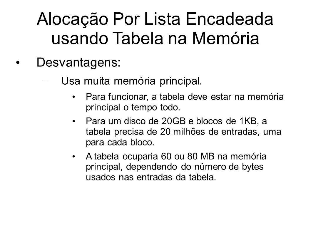 Alocação Por Lista Encadeada usando Tabela na Memória Desvantagens: – Usa muita memória principal. Para funcionar, a tabela deve estar na memória prin