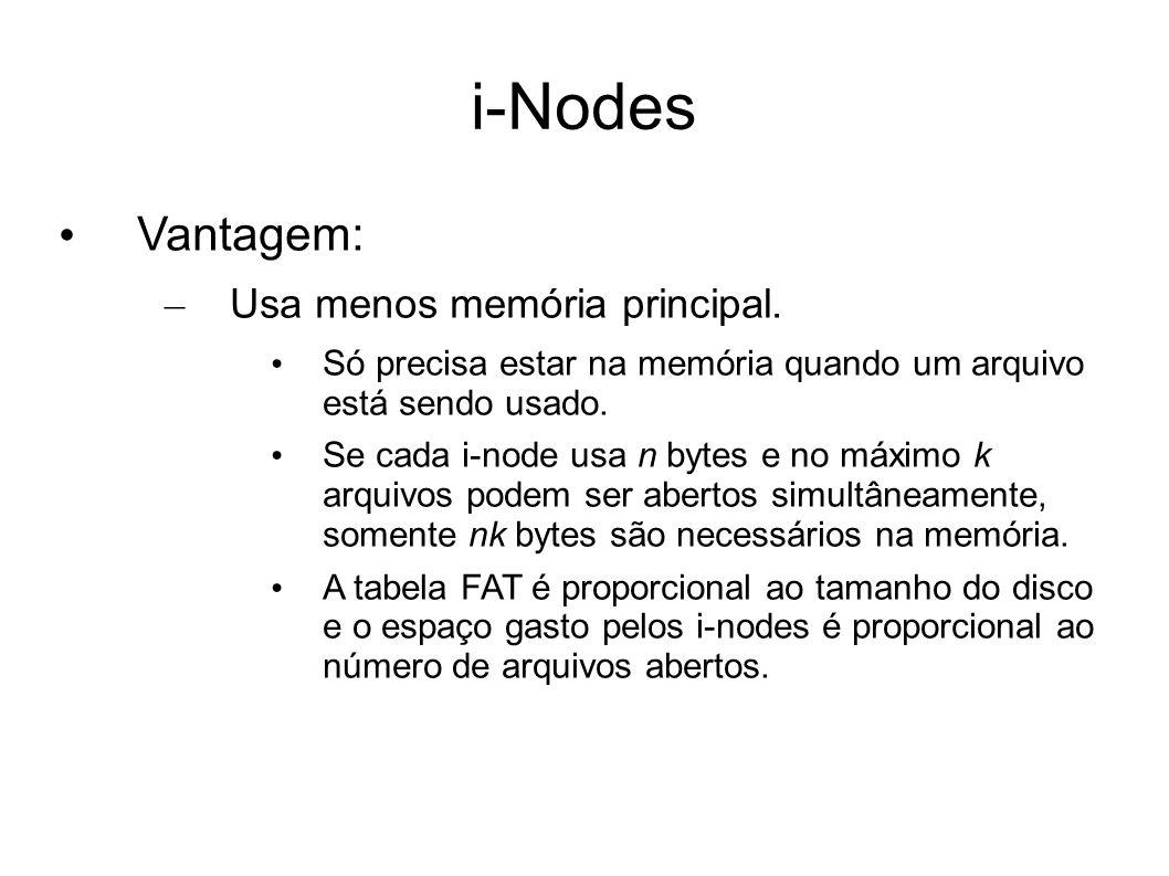 Vantagem: – Usa menos memória principal. Só precisa estar na memória quando um arquivo está sendo usado. Se cada i-node usa n bytes e no máximo k arqu