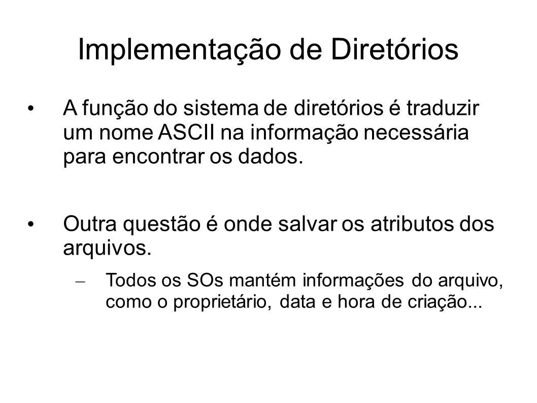 Implementação de Diretórios A função do sistema de diretórios é traduzir um nome ASCII na informação necessária para encontrar os dados. Outra questão